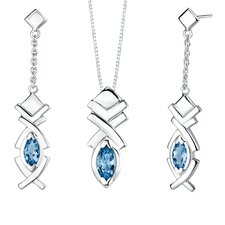 2.75 carats Marquise Shape London Blue Topaz Pendant Earrings Set in Sterling Silver