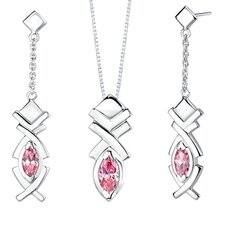Marquise Shape Pink Cubic Zirconia Pendant Earrings Set in Sterling Silver