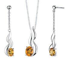 "0.38"" 3.00 carats Oval Shape Citrine Pendant Earrings Set in Sterling Silver"