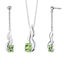 "0.38"" 3.50 carats Oval Shape Peridot Pendant Earrings Set in Sterling Silver"