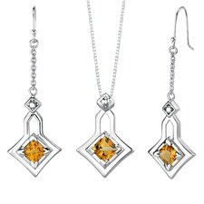 3.50 carats Princess Cut Citrine Pendant Earrings Set in Sterling Silver