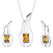 """1.13"""" 2.75 carats Radiant Cut Citrine Pendant Earrings Set in Sterling Silver"""