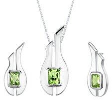 """1.13"""" 3.50 carats Radiant Cut Peridot Pendant Earrings Set in Sterling Silver"""