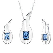 """1.13"""" 3.75 carats Radiant Cut London Blue Topaz Pendant Earrings Set in Sterling Silver"""
