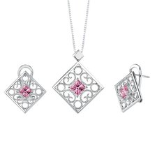 <strong>Oravo</strong> Princess Cut Pink Cubic Zirconia Pendant Earrings Set in Sterling Silver