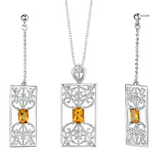 """2.5"""" 2.75 carats Radiant Cut Citrine Pendant Earrings Set in Sterling Silver"""