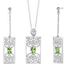 """2.5"""" 3.50 carats Radiant Cut Peridot Pendant Earrings Set in Sterling Silver"""