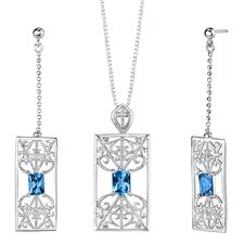 "2.5"" 3.75 carats Radiant Cut London Blue Topaz Pendant Earrings Set in Sterling Silver"