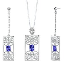 "<strong>Oravo</strong> 2.5"" Radiant Cut Sapphire Pendant Earrings Set in Sterling Silver"