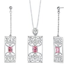"2.5"" Radiant Cut Pink Cubic Zirconia Pendant Earrings Set in Sterling Silver"