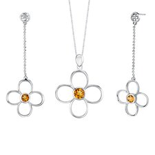 2.25 carats Round Shape Citrine Pendant Earrings Set in Sterling Silver