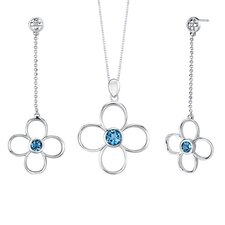 3.00 carats Round Shape London Blue Topaz Pendant Earrings Set in Sterling Silver