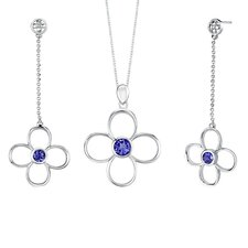 Round Shape Sapphire Pendant Earrings Set in Sterling Silver