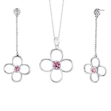 Round Shape Pink Cubic Zirconia Pendant Earrings Set in Sterling Silver