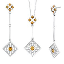 3.00 carats Round Shape Citrine Pendant Earrings Set in Sterling Silver