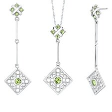 3.50 carats Round Shape Peridot Pendant Earrings Set in Sterling Silver