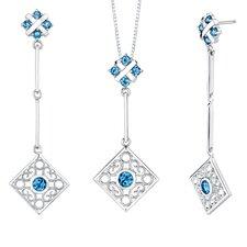 4.00 carats Round Shape London Blue Topaz Pendant Earrings Set in Sterling
