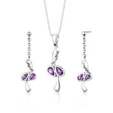 "Sterling Silver 1.50 Carat Pear Shape Gemstone Pendant Earrings and 18"" Necklace Set"