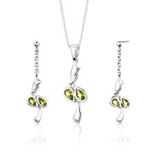 "Sterling Silver Pear Shape Peridot Pendant Earrings and 18"" Necklace Set"