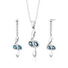 "Sterling Silver 2.00 Carats Pear Shape London Blue Topaz Pendant Earrings and 18"" Necklace Set"