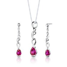 "Sterling Silver 1.75 Carats Pear Shape Ruby Pendant Earrings and 18"" Necklace Set"