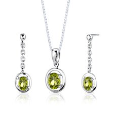 "Sterling Silver 1.75 Carats Oval Shape Peridot Pendant Earrings and 18"" Necklace Set"
