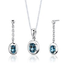 "Sterling Silver 1.50 Carat Oval Shape Gemstone Pendant Earrings and 18"" Necklace Set"