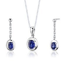"<strong>Oravo</strong> Sterling Silver 1.75 Carats Oval Shape Sapphire Pendant Earrings and 18"" Necklace Set"