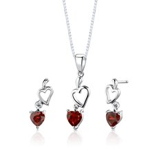 "Sterling Silver Heart Shape Garnet Pendant Earrings and 18"" Necklace Set"