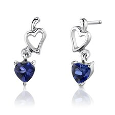 "Sterling Silver Heart Shape Gemstone Pendant Earrings and 18"" Necklace Set"