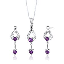 "Sterling Silver 2.00 Carat Multishape Gemstone Pendant Earrings and 18"" Necklace Set"