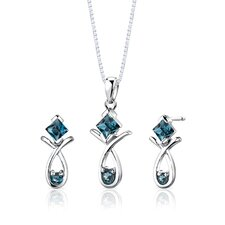 "Sterling Silver 1.50 Carat Multishape Gemstone Pendant Earrings and 18"" Necklace Set"