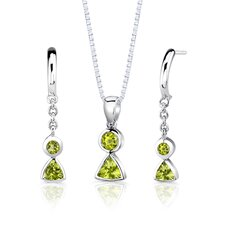 """Sterling Silver 1.50 Carats Multishape Peridot Pendant Earrings and 18"""" Necklace Set"""