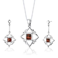 "<strong>Oravo</strong> Sterling Silver Princess Cut Garnet Pendant Earrings and 18"" Necklace Set"