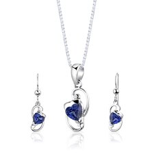 "Sterling Silver 2.00 Carats Heart Shape Sapphire Pendant Earrings and 18"" Necklace Set"
