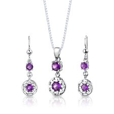 "Sterling Silver 2.00 Carats Round Shape Gemstone Pendant Earrings and 18"" Necklace Set"