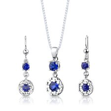 "Sterling Silver 2.25 Carats Round Shape Sapphire Pendant Earrings and 18"" Necklace Set"
