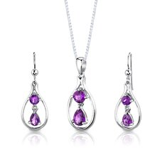 "Sterling Silver 2.25 Carats Multishape Gemstone Pendant Earrings and 18"" Necklace Set"