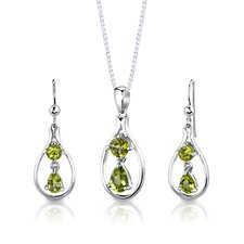 "Sterling Silver 2.50 Carats Multishape Peridot Pendant Earrings and 18"" Necklace Set"