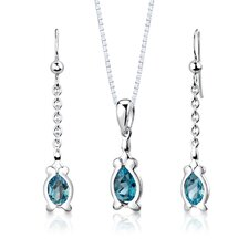 "Sterling Silver 2.25 Carats Pear Shape London Blue Topaz Pendant Earrings and 18"" Necklace Set"