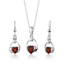 "Sterling Silver 2.00 Carats Heart Shape Garnet Pendant Earrings and 18"" Necklace Set"