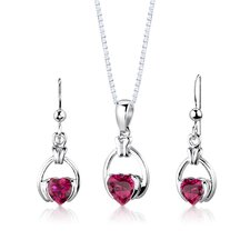 "Sterling Silver 1"" Heart Shape Ruby Pendant Earrings and 18"" Necklace Set"