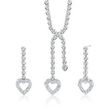 Romantic Style Sterling Silver Heart Lariat Tennis Necklace Earrings Set with White Cubic Zirconia