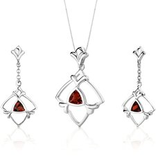 Artful 2.25 Carats Trillion Cut Sterling Silver Garnet Pendant Earrings Set
