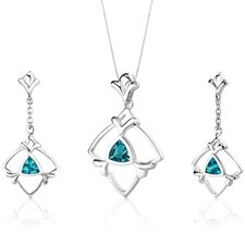 Artful 1.75 Carats Trillion Cut Sterling Silver Swiss Blue Topaz Pendant Earrings Set