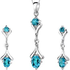 Oval Round Combination 2.75 Carats Sterling Silver London Blue Topaz Pendant Earrings Set