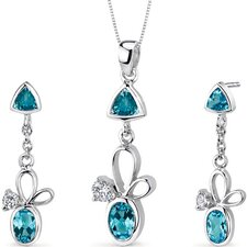 Dynamic 3.25 Carats Trillion and Oval Cut Sterling Silver Swiss Blue Topaz Pendant Earrings Set