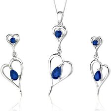 Heart Design 2.75 Carats Pear Shape Sterling Silver Sapphire Pendant Earrings Set