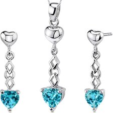 Cupid Duet 3.5 Carats Heart Shape Sterling Silver Swiss Blue Topaz Pendant Earrings Set