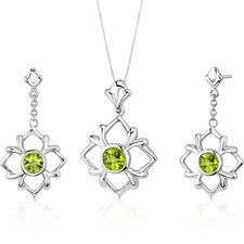 Floral Design 3.5 Carats Round Cut Sterling Silver Peridot Pendant Earrings Set